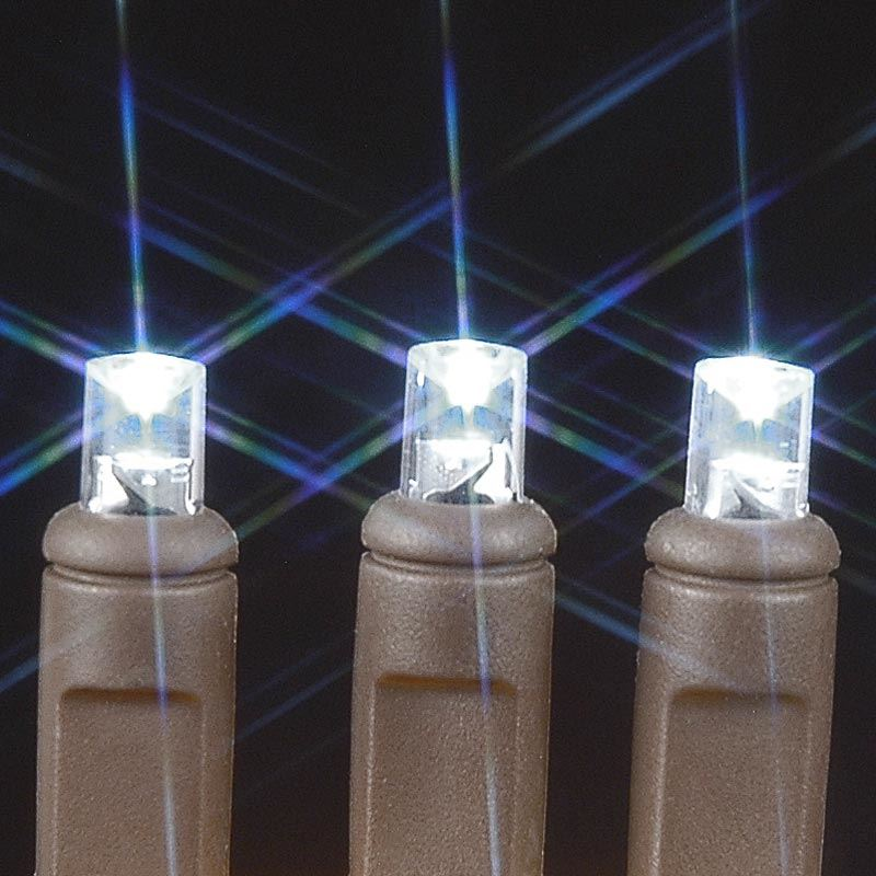 Brown Wire Wide Angle Pure White 50 Bulb LED Christmas Lights Sets
