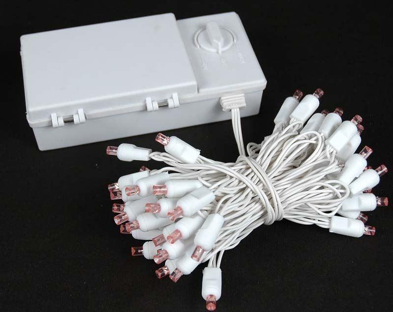 50 Light LED Battery Christmas Mini Light Set, White Wire, 18\' Long ...