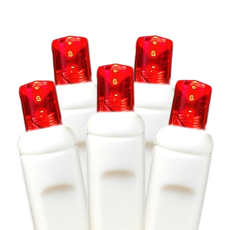 picture of 50 led battery operated lights red on white wire - Red And White Led Christmas Lights