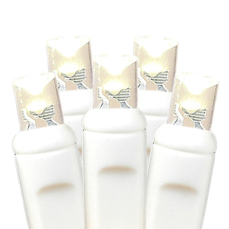 picture of 50 led battery operated lights warm white on white wire - Battery Operated White Christmas Lights