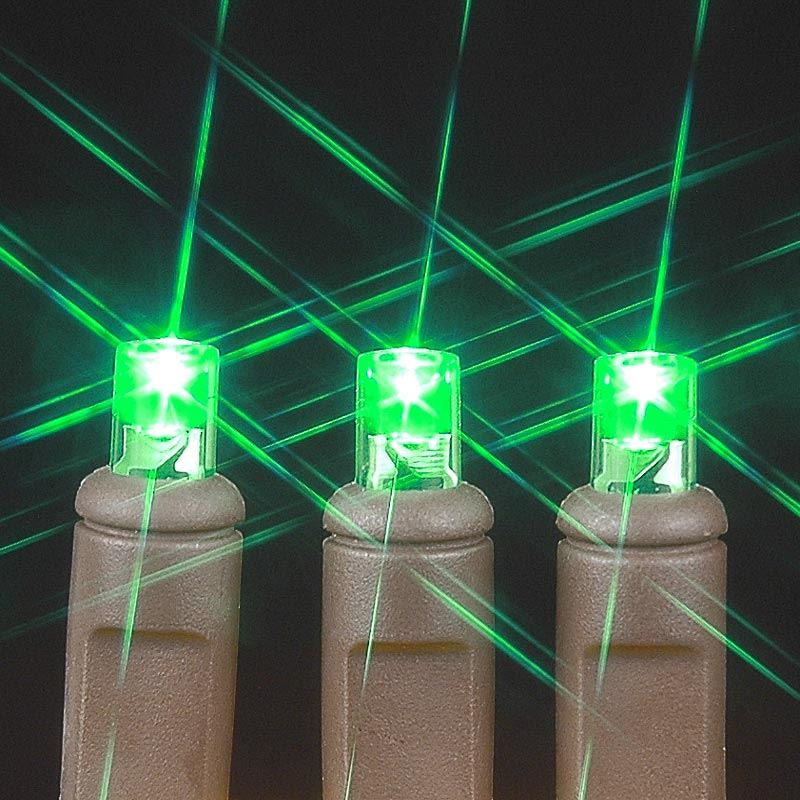 Brown Wire Wide Angle Green 100 Bulb LED Lights Sets 34\' - Novelty ...