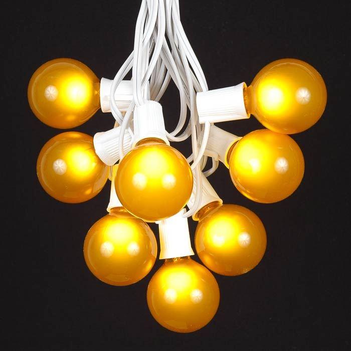 100 yellow g50 globe string light set on white wire novelty lights inc. Black Bedroom Furniture Sets. Home Design Ideas