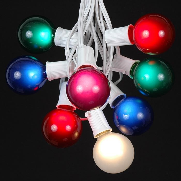 Picture of 25 G50 Globe Light String Set with Assorted Bulbs on White Wire