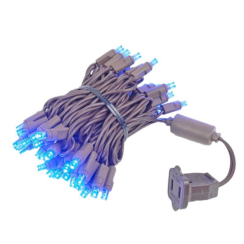Picture of 50 LED Blue, Brown Wire LED Christmas Lights 11' Long