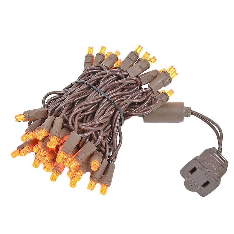 Wire Picture Of 50 Led Amber Christmas Lights 11 Long On Brown