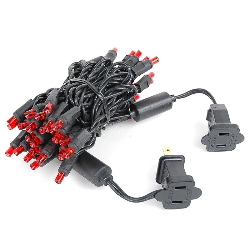 Black Wire Wide Angle Red 50 Bulb Led Christmas Lights