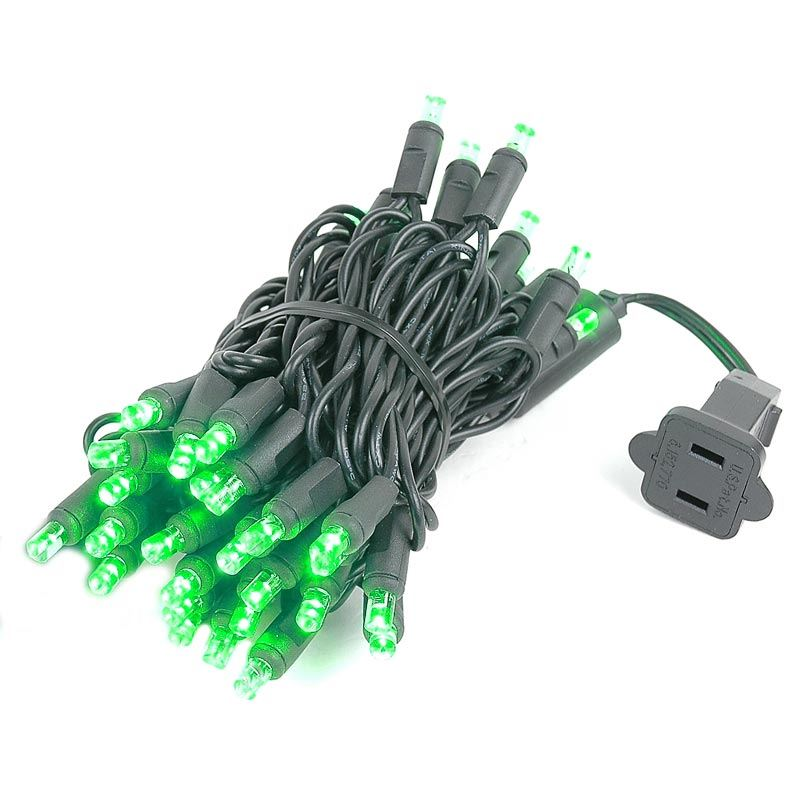 Black Wire Wide Angle Green 50 Bulb Led Christmas Lights