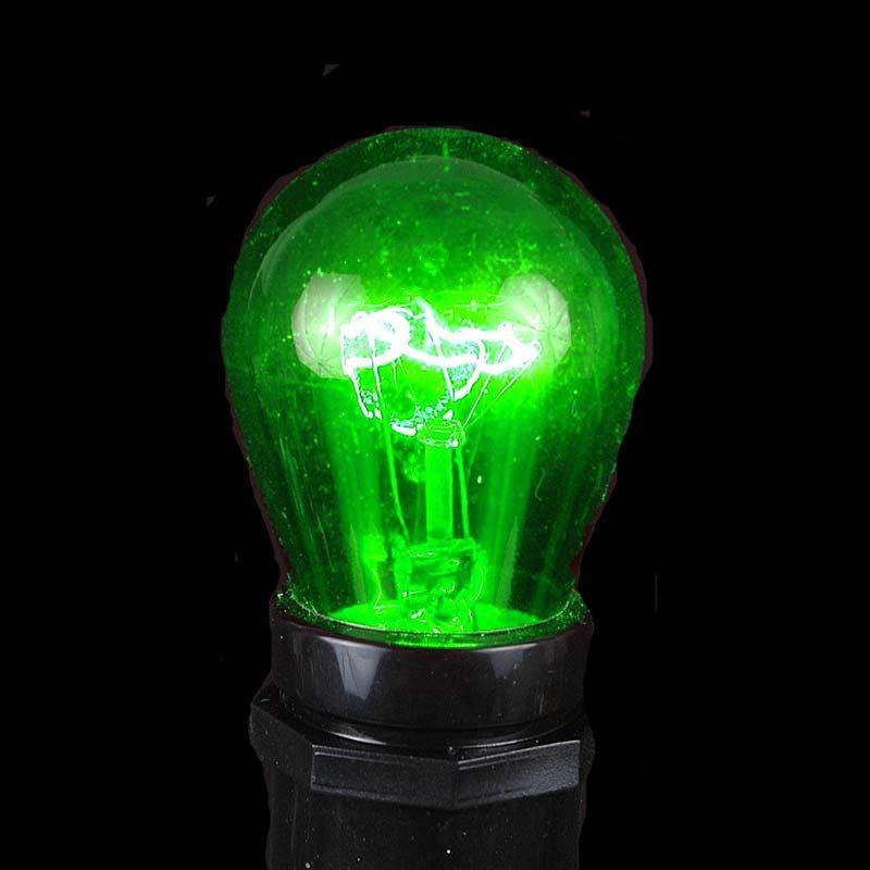 Picture of 25 Pack of Transparent Green S14 11 Watt Bulbs Medium Base e26