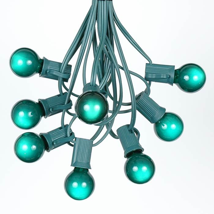 Picture of 25 G30 Globe Light String Set with Green Bulbs on Green Wire