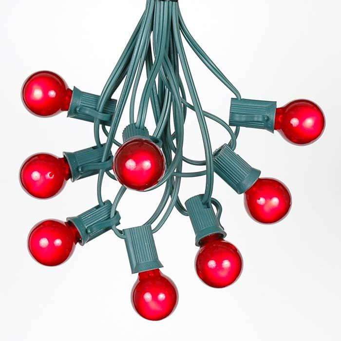 Picture of 25 G30 Globe Light String Set with Red Bulbs on Green Wire