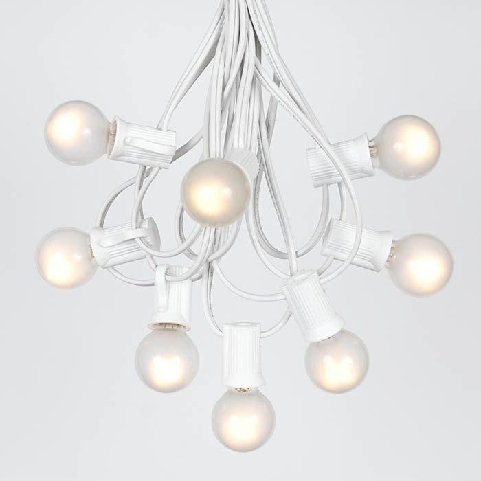 Picture of 25 G30 Globe Light String Set with Frosted White Bulbs on White Wire