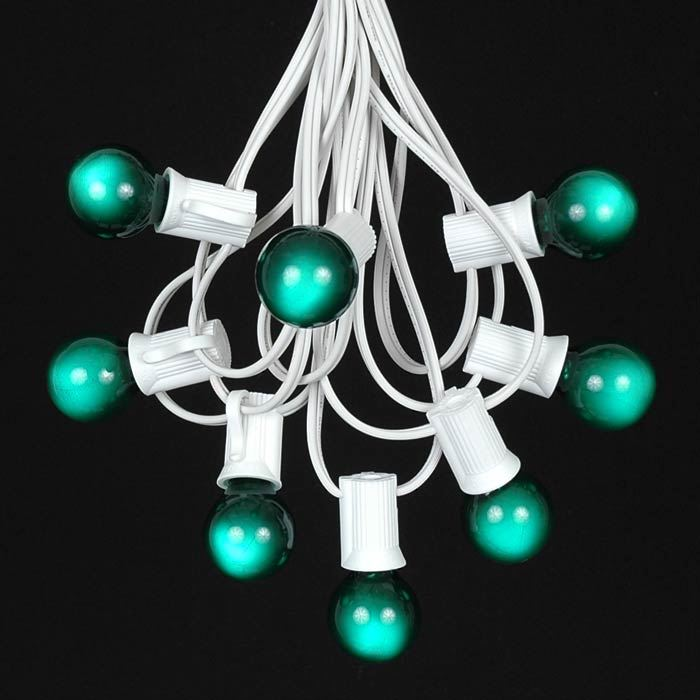 Picture of 25 G30 Globe Light String Set with Green Bulbs on White Wire