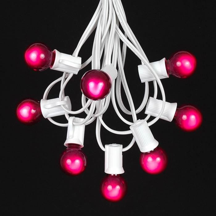 Picture of 25 G30 Globe Light String Set with Purple Bulbs on White Wire