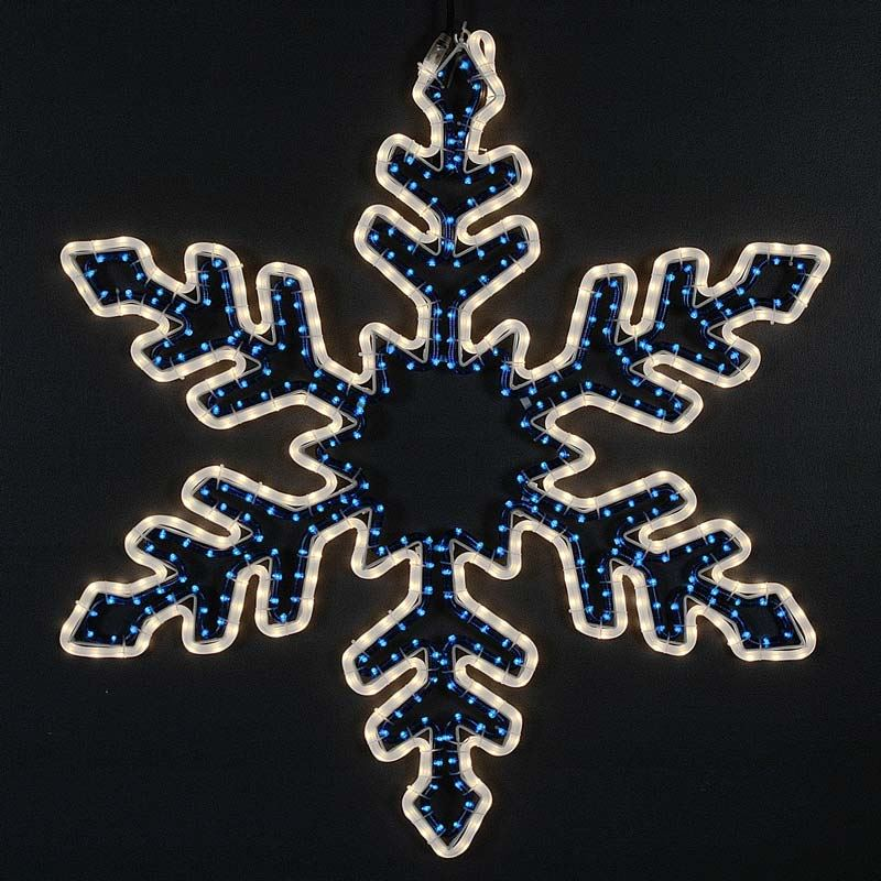 Lighted rope light snowflakes and stars sale 36 bi color rope light snowflake frosted white blue aloadofball Choice Image