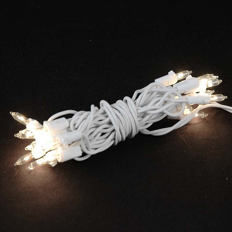 Non Connectable White Wire Mini Lights 20 Light 8.5u0027 & White Wire Commercial Grade Mini Christmas Light Sets
