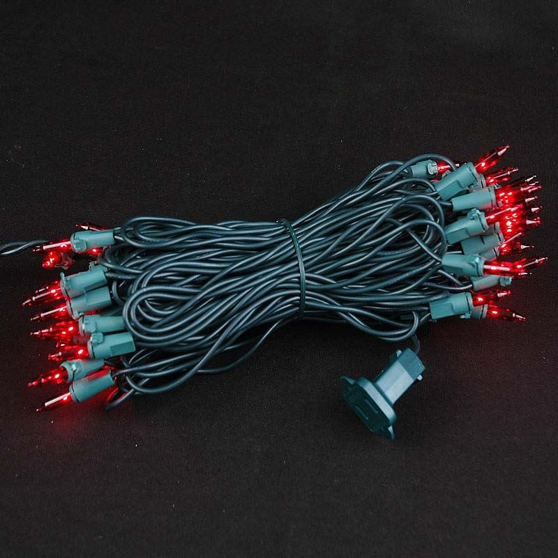 Christmas Lighting Wire : Red christmas mini light set green wire
