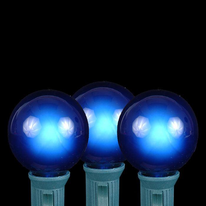 Blue G40 Globe Round Outdoor String Light Set On Green