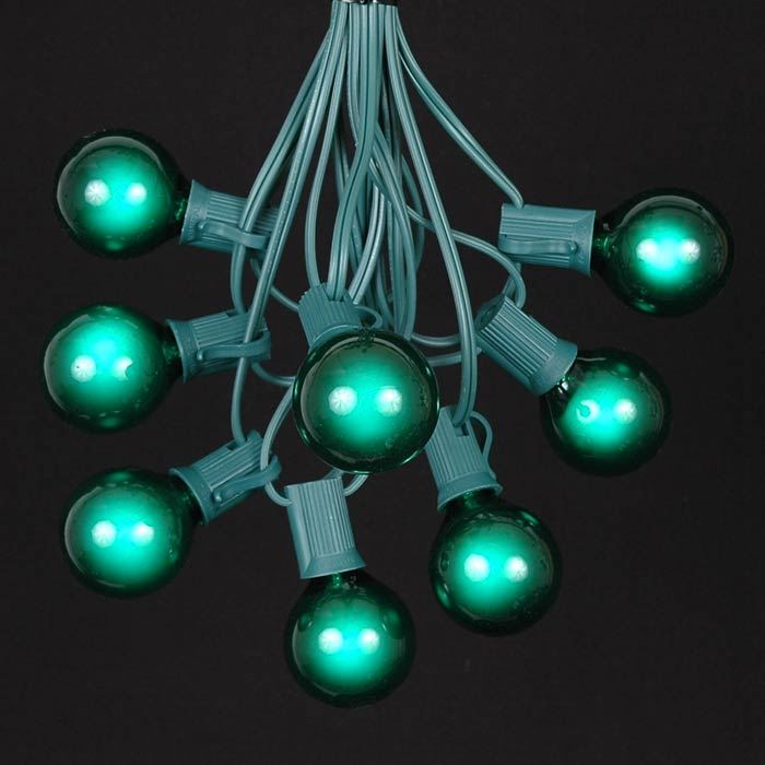 Picture of 25 G40 Globe String Light Set with Green Bulbs on Green Wire