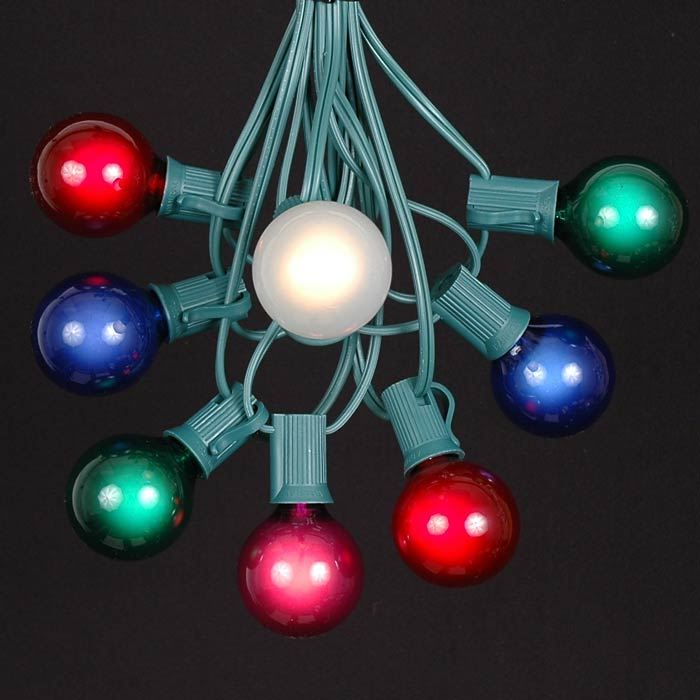 25 g40 globe string light set with multi colored bulbs on green wire