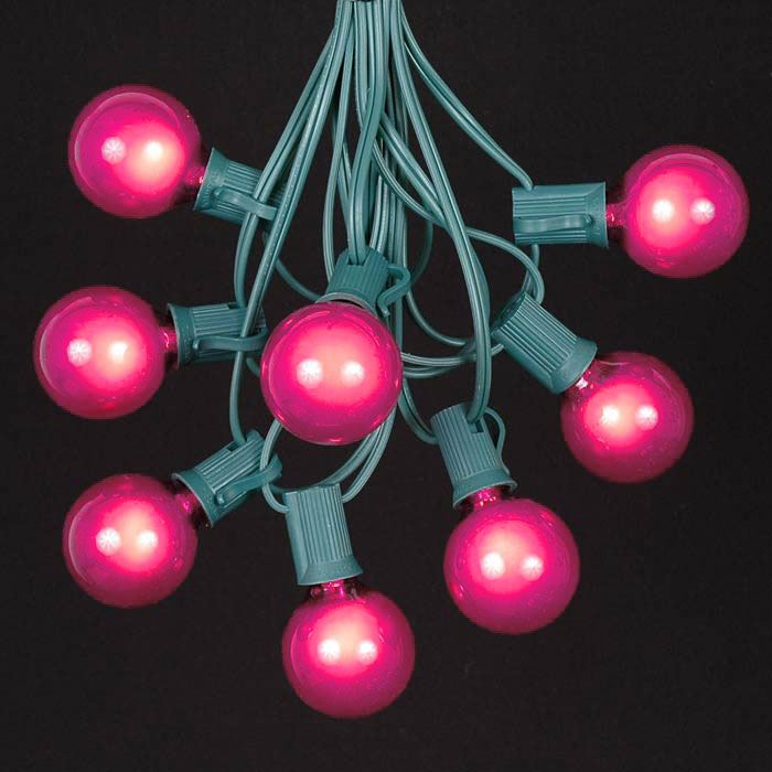 Picture of 25 G40 Globe String Light Set with Pink Bulbs on Green Wire