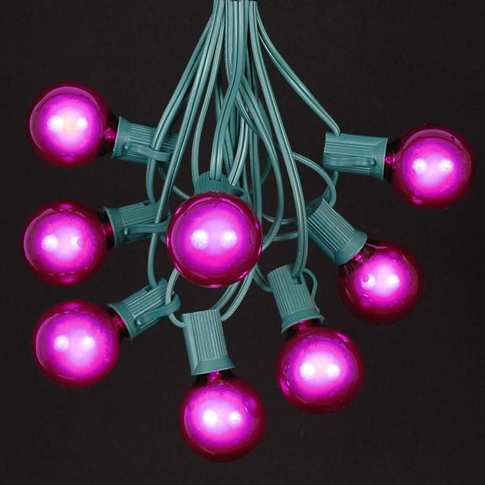 Picture of 25 G40 Globe String Light Set with Purple Bulbs on Green Wire