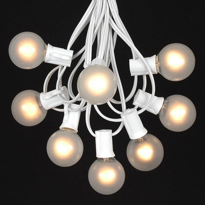 25 g40 globe string light set with frosted white bulbs on white wire