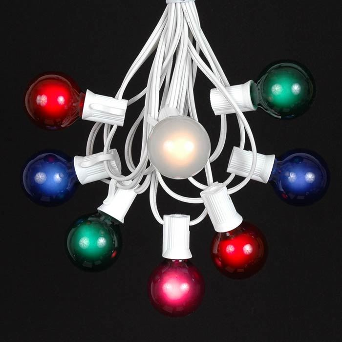 Picture of 25 G40 Globe String Light Set with Multi-Colored Satin Bulbs on White Wire