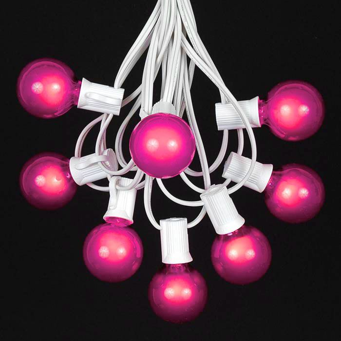 Picture of 25 G40 Globe String Light Set with Pink Bulbs on White Wire