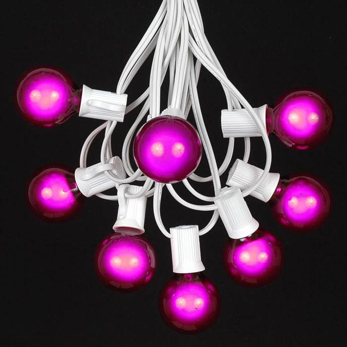 Picture of 25 G40 Globe String Light Set with Purple Satin Bulbs on White Wire