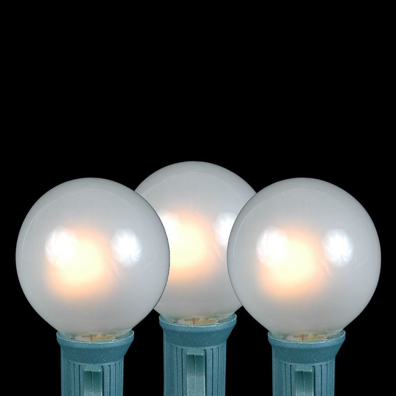 frosted white g40 globe round outdoor string light set on brown wire