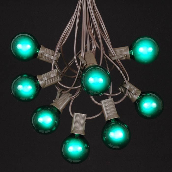 Picture of 25 G40 Globe String Light Set with Green Bulbs on Brown Wire