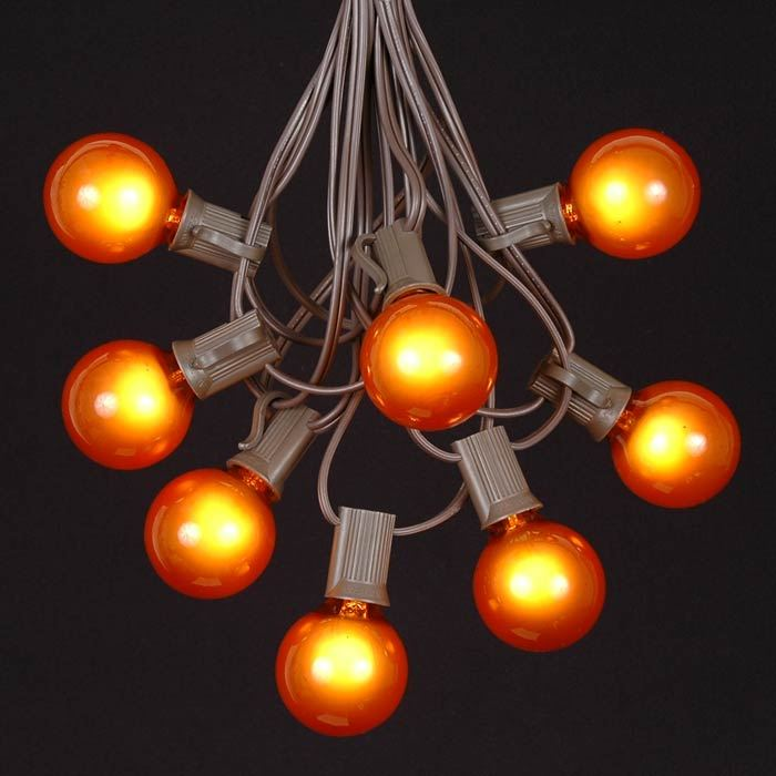 Picture of 25 G40 Globe String Light Set with Orange Bulbs on Brown Wire