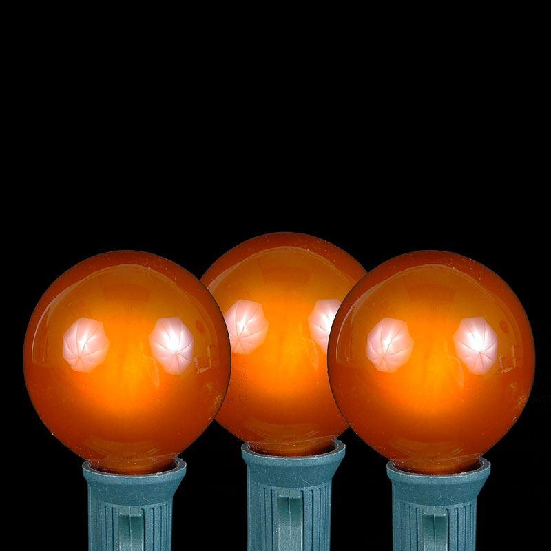 Orange G40 Globe/Round Outdoor String Light Set on Brown Wire - Novelty Lights, Inc