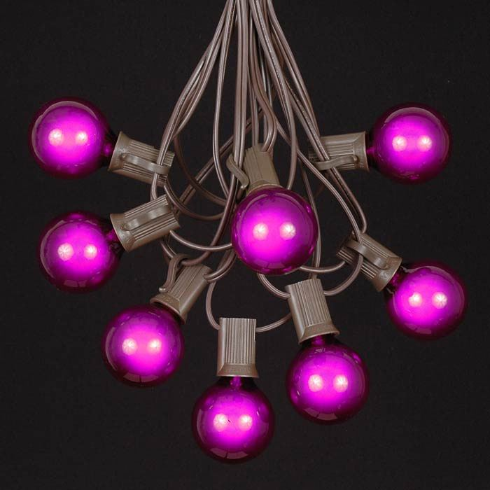 Picture of 25 G40 Globe String Light Set with Purple Bulbs on Brown Wire