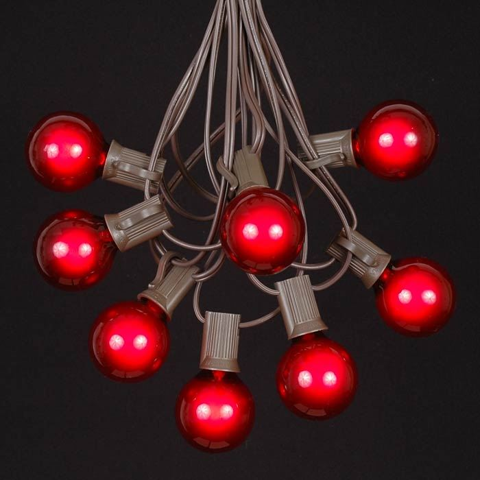 Picture of 25 G40 Globe String Light Set with Red Bulbs on Brown Wire