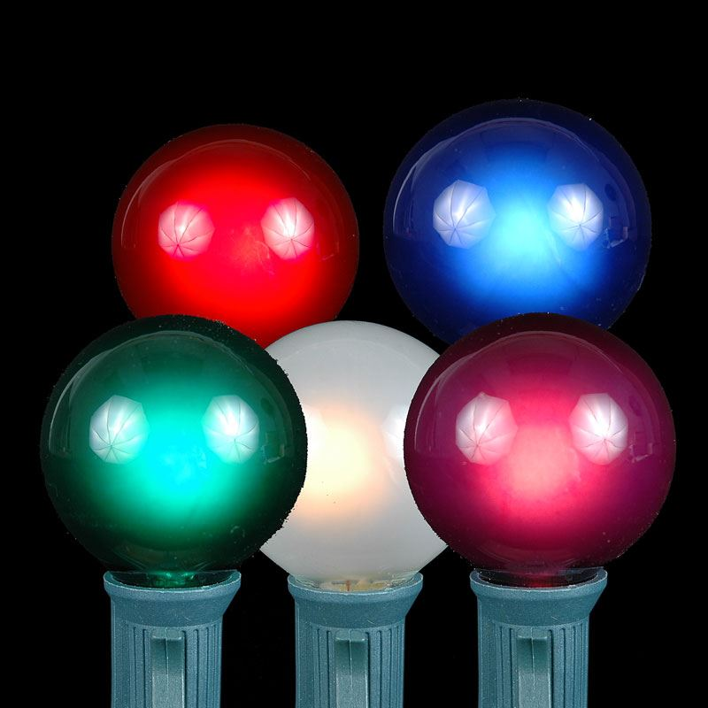 Multi Colored G40 Globe/Round Outdoor String Light Set on Black Wire - Novelty Lights, Inc