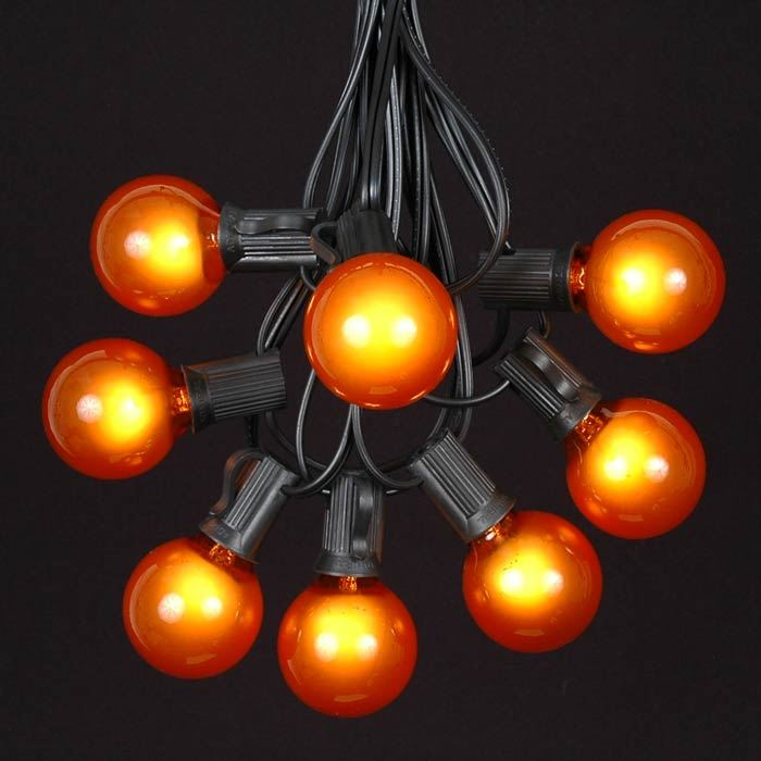 Picture of 25 G40 Globe String Light Set with Orange Bulbs on Black Wire