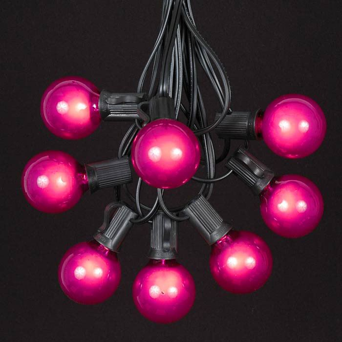 Picture of 25 G40 Globe String Light Set with Pink Bulbs on Black Wire