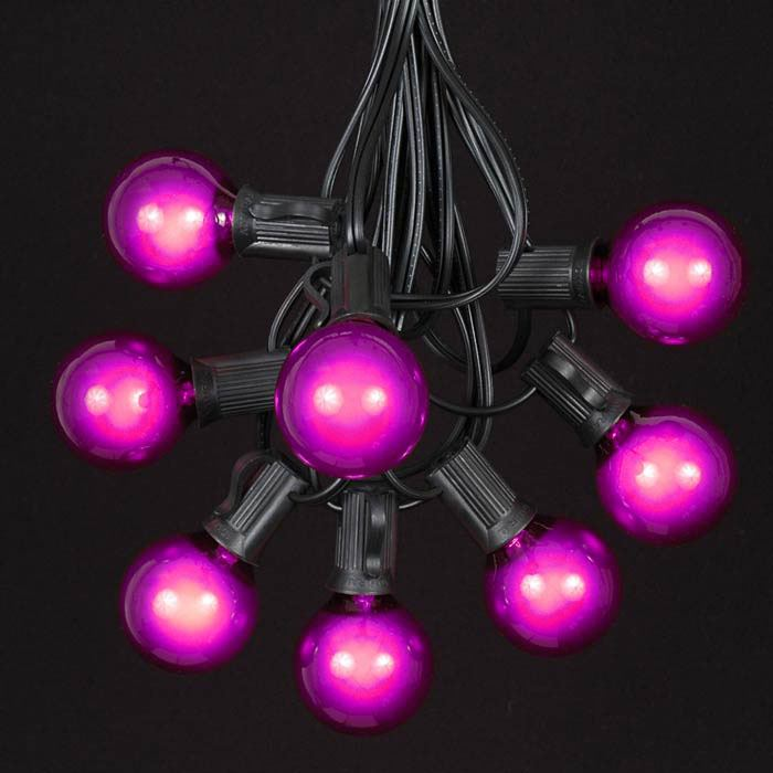 Picture of 25 G40 Globe String Light Set with Purple Bulbs on Black Wire