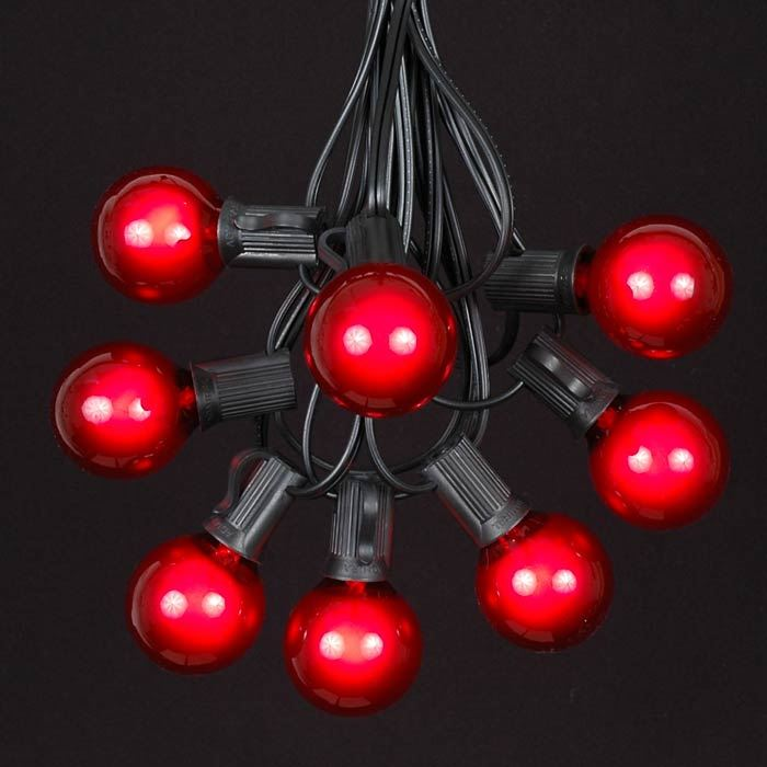 Picture of 25 G40 Globe String Light Set with Red Bulbs on Black Wire