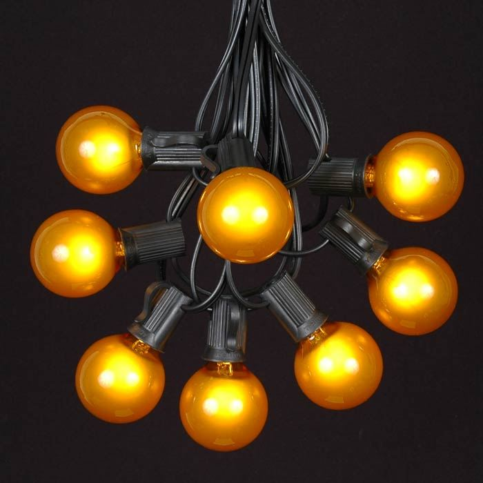 Yellow Globe String Lights : Yellow G40 Globe/Round Outdoor String Light Set on Black Wire - Novelty Lights, Inc