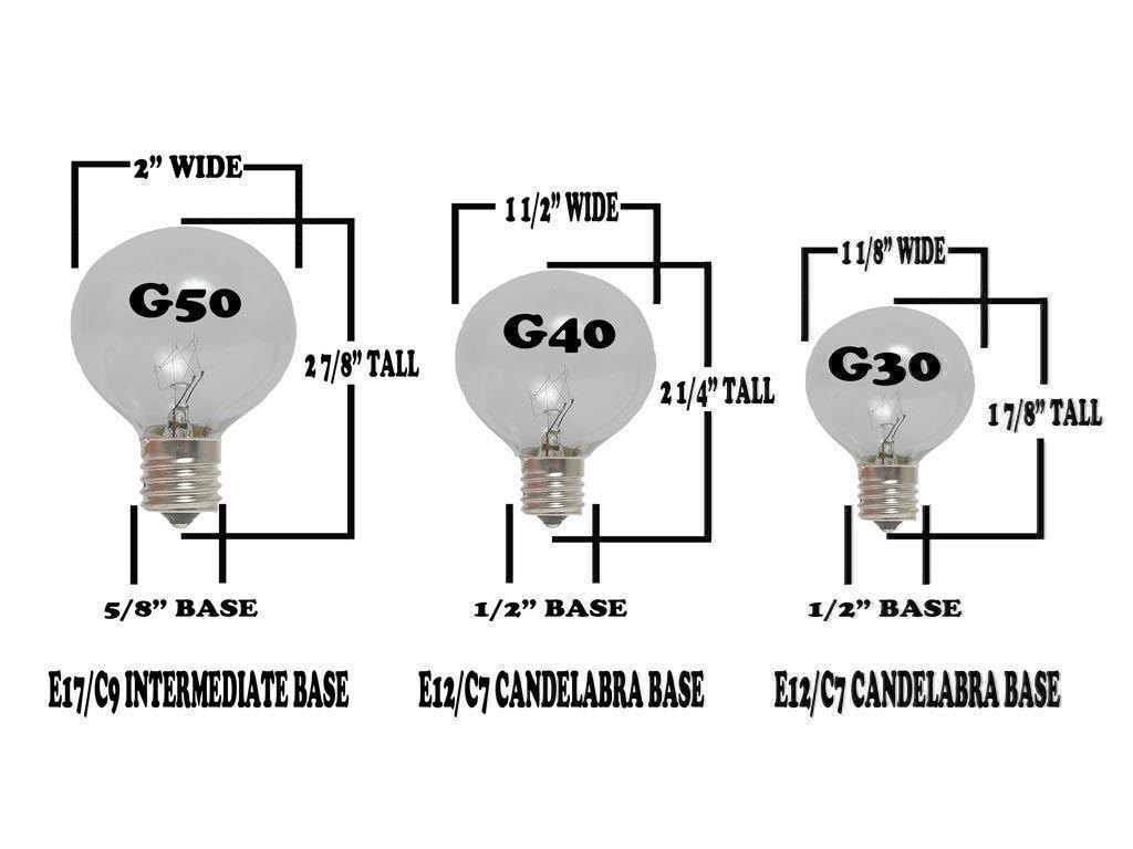 100 Foot G40 Outdoor Globe Patio String Lights Set of 125 G40 Globe Bulbs