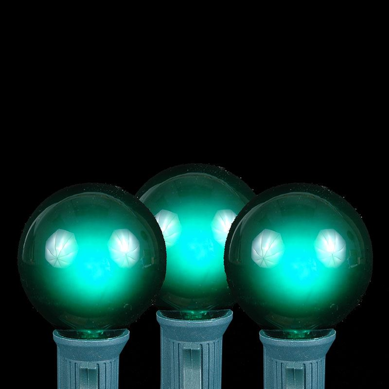 String Lights G40 : 100 Green G40 Globe/Round Outdoor String Light Set on Black Wire - Novelty Lights, Inc