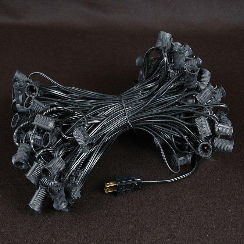 100 Purple G40 Globe/Round Outdoor String Light Set on Black Wire - Novelty Lights, Inc
