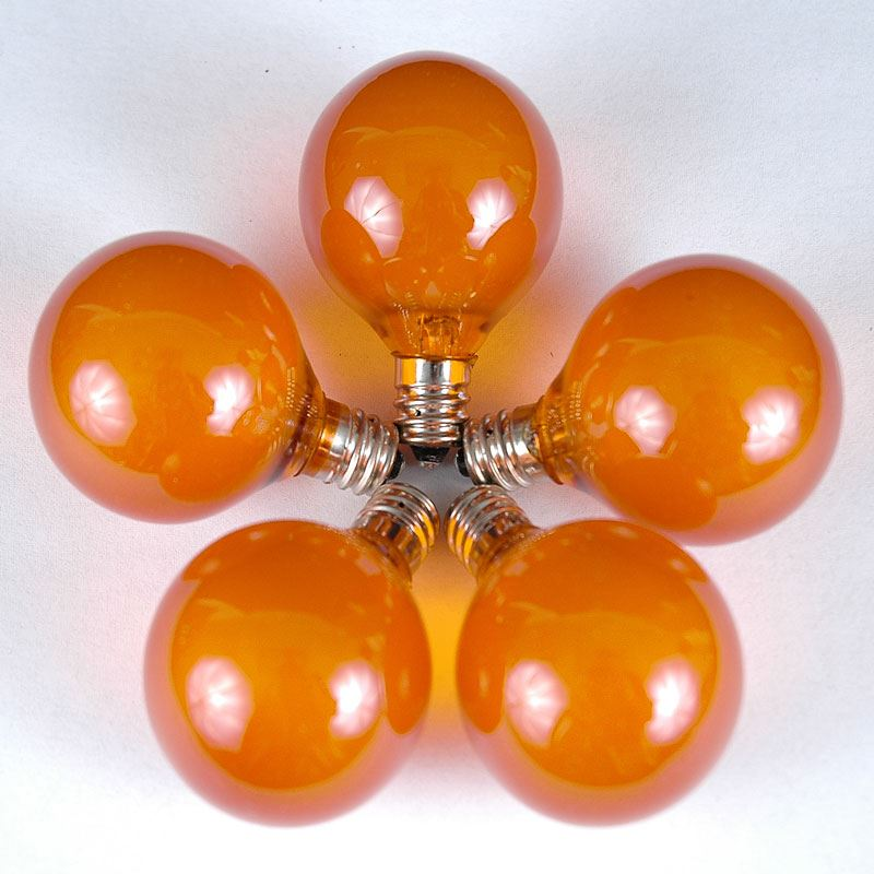 100 Orange G40 Globe/Round Outdoor String Light Set on Brown Wire - Novelty Lights, Inc