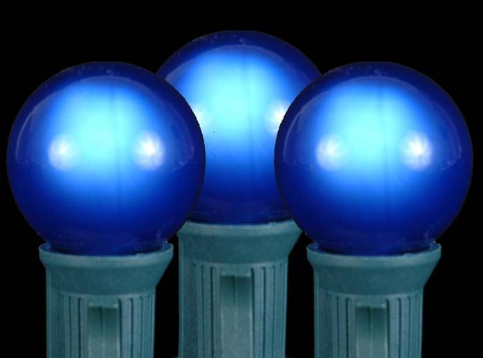 100 Blue G30 Globe/Round Outdoor String Light Set on Brown Wire - Novelty Lights, Inc
