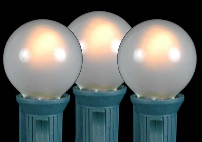 100 Frosted White G30 Globe/Round Outdoor String Light Set on White Wire - Novelty Lights, Inc