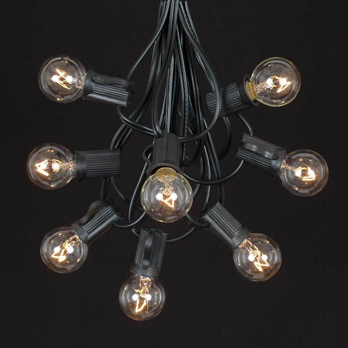 Picture of 25 G30 Globe Light String Set with Clear Bulbs on Black Wire