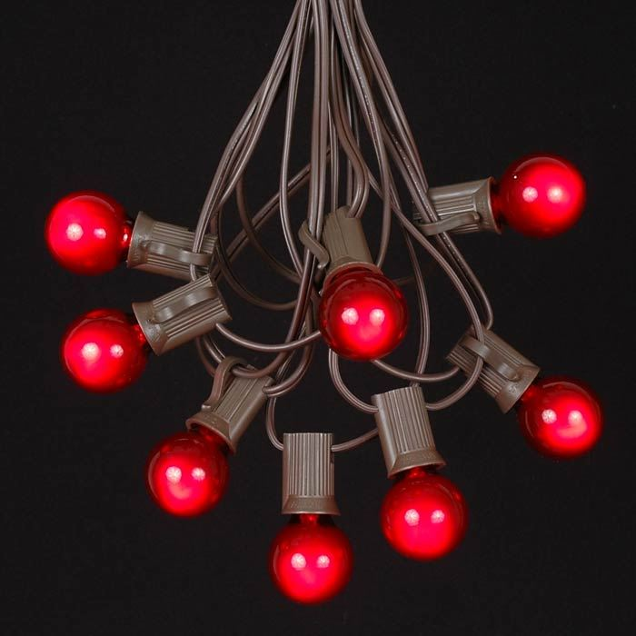 Picture of 25 G30 Globe Light String Set with Red Satin Bulbs on Brown Wire