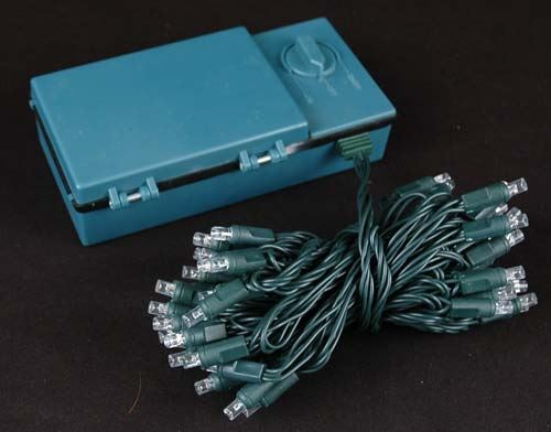 50 LED Battery Operated Christmas Lights Pink on Green Wire ...